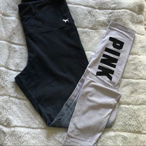 Victoria's Secret PINK black and grey leggings